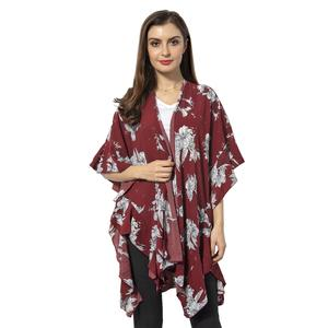 Wine Red 100% Polyester Flower Pattern Kimono with Falbala Sleeve (35.43x31.49 in)