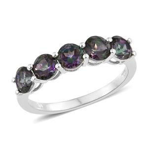Northern Lights Mystic Topaz Platinum Over Sterling Silver 5 Stone Ring (Size 7.0) TGW 2.90 cts.