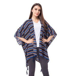 Blue Stripe Pattern 100% Polyester Kimono with Tassles (38.59x29.76 in)