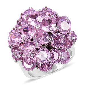 Simulated Pink Sapphire Silvertone Ring (Size 8.0) TGW 11.20 cts.