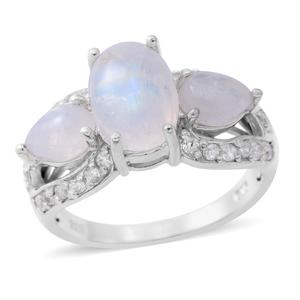 Rainbow Moonstone, Cambodian White Zircon Sterling Silver Ring (Size 7.0) TGW 5.95 cts.