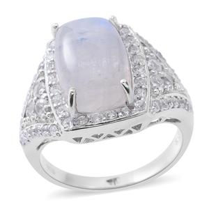 Rainbow Moonstone, Cambodian White Zircon Sterling Silver Ring (Size 7.0) TGW 15.10 cts.