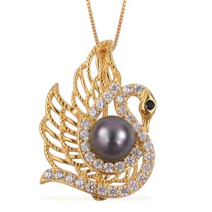 Tahitian Pearl (8.5-9 mm), Multi Gemstone 14K YG Over Sterling Silver Pendant With Chain (18 in) TGW 1.54 cts.