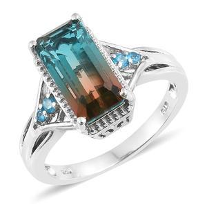 Aqua Terra Costa Quartz, Malgache Neon Apatite Platinum Over Sterling Silver Ring (Size 9.0) TGW 5.24 cts.