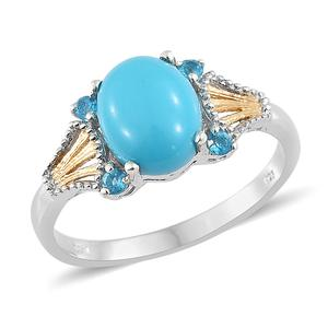 Arizona Sleeping Beauty Turquoise, Malgache Neon Apatite 14K YG and Platinum Over Sterling Silver Ring (Size 9.0) TGW 2.65 cts.