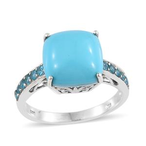 Arizona Sleeping Beauty Turquoise, Malgache Neon Apatite Platinum Over Sterling Silver Ring (Size 7.0) TGW 5.71 cts.