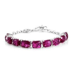 Radiant Orchid Quartz Platinum Over Sterling Silver Toggle Clasp Bracelet (7-7.5In) TGW 22.89 cts.