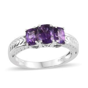 Moroccan Amethyst Platinum Over Sterling Silver Trilogy Ring (Size 7.0) TGW 1.95 cts.