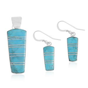 Santa Fe Style Kingman Turquoise Sterling Silver Earrings and Pendant without Chain TGW 7.50 cts.