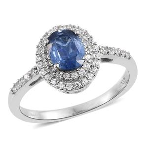 Himalayan Kyanite, Cambodian Zircon Platinum Over Sterling Silver Ring (Size 10.0) TGW 2.05 cts.