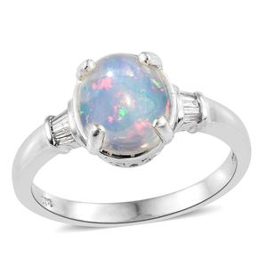 Ethiopian Welo Opal, Diamond Platinum Over Sterling Silver Ring (Size 7.0) TDiaWt 0.10 cts, TGW 2.40 cts.