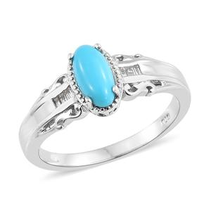 Arizona Sleeping Beauty Turquoise, White Topaz Platinum Over Sterling Silver Ring (Size 7.0) TGW 1.46 cts.