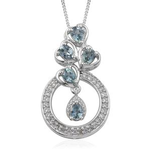 Montana Sapphire, Cambodian Zircon Platinum Over Sterling Silver Heart Round Pendant With Chain (20 in) TGW 1.33 cts.
