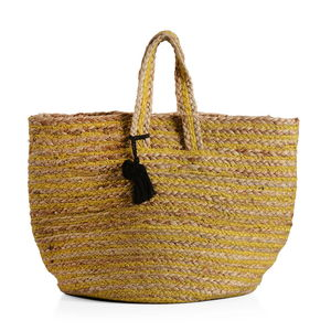 Yellow Stripe Natural 100% Jute Hand Braided Hessian Bag with Removable Pom Pom Tassels (17.5x10x9 in)
