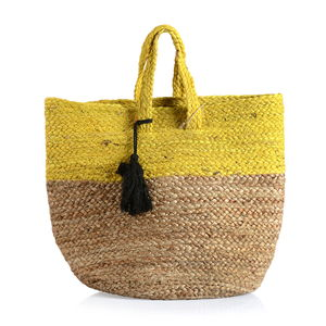 Yellow 100% Jute Hand Braided Handbag with Removable Pom Pom Tassel (18x10x14 in)
