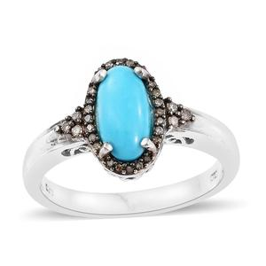 Arizona Sleeping Beauty Turquoise, Natural Champagne Diamond Black Rhodium & Platinum Over Sterling Silver Ring (Size 10.0) TDiaWt 0.22 cts, TGW 2.00 cts.