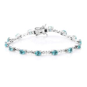 Customer Appreciation Day Madagascar Paraiba Apatite Platinum Over Sterling Silver Bracelet (7.25 In) TGW 4.06 cts.