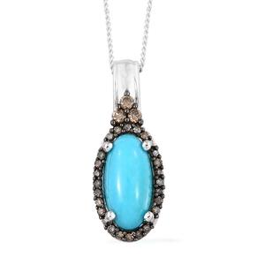 Arizona Sleeping Beauty Turquoise, Natural Champagne Diamond Black Rhodium & Platinum Over Sterling Silver Pendant With Chain (20 in) TDiaWt 0.18 cts, TGW 2.00 cts.