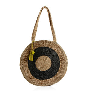 Black Natural 100% Jute Hand Braided Round Bag with Removable Pom Pom Tassel (14.5 in)