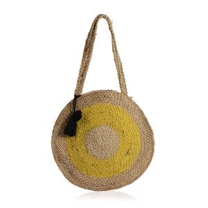 Mustard Yellow and Neutral 100% Jute Round Bag with Pom Pom Tassels (15 in)