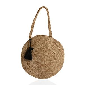 Beige and Neutral 100% Jute Round Bag with Pom Pom Tassels (15 in)