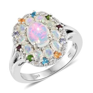 Ethiopian Welo Opal, Multi Gemstone Platinum Over Sterling Silver Ring (Size 11.0) TGW 2.80 cts.
