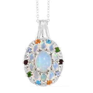 Ethiopian Welo Opal, Multi Gemstone Platinum Over Sterling Silver Pendant With Chain (20 in) TGW 2.69 cts.
