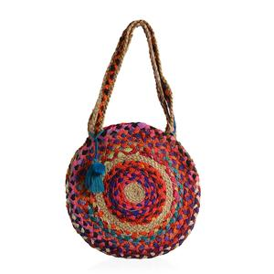 Multi Color 70% Cotton and 30% Jute Hand Braided Round Bag with Pom Pom and Tassel (15 in)