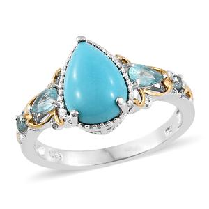 Arizona Sleeping Beauty Turquoise, Madagascar Paraiba Apatite 14K YG and Platinum Over Sterling Silver Ring (Size 7.0) TGW 3.38 cts.