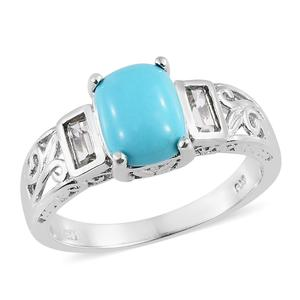 Arizona Sleeping Beauty Turquoise, White Topaz Platinum Over Sterling Silver Ring (Size 7.0) TGW 3.00 cts.