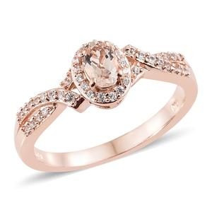Marropino Morganite, Cambodian Zircon Vermeil RG Over Sterling Silver Ring (Size 5.0) TGW 0.67 cts.