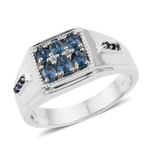 Montana Sapphire, Multi Gemstone Platinum Over Sterling Silver Men's Signet Ring (Size 12.0) TGW 1.57 cts.