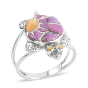 Santa Fe Style Mojave Purple Turquoise, Mother of Pearl Sterling Silver Turtle Ring (Size 7.0) TGW 3.50 cts.