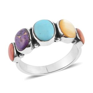 Santa Fe Style Multi Turquoise, Multi Gemstone Sterling Silver Ring (Size 10.0) TGW 0.75 cts.