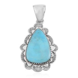 Santa Fe Style Kingman Turquoise Sterling Silver Pendant without Chain TGW 8.00 cts.
