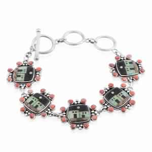 Santa Fe Style Black Onyx, Multi Gemstone Sterling Silver Toggle Clasp Bracelet (7.00 In) TGW 11.25 cts.