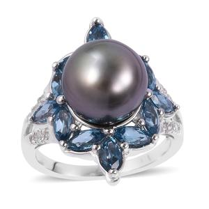 Tahitian Pearl (10-10.5 mm), Multi Gemstone Sterling Silver Ring (Size 7.0) 0 TGW 2.30 cts.