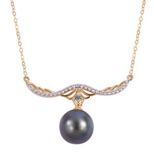 Tahitian Pearl (10-10.5 mm), Multi Gemstone 14K YG Over Sterling Silver Drop Necklace (18 in) TGW 0.34 cts.