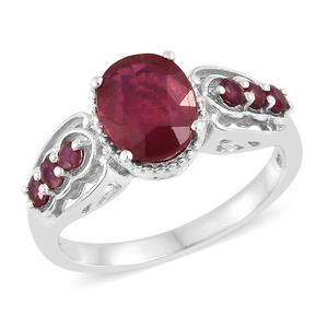 Niassa Ruby Platinum Over Sterling Silver Ring (Size 7.0) TGW 4.13 cts.