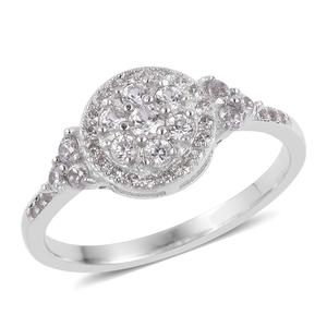 Natural White Zircon Sterling Silver Ring (Size 10.0) TGW 0.85 cts.