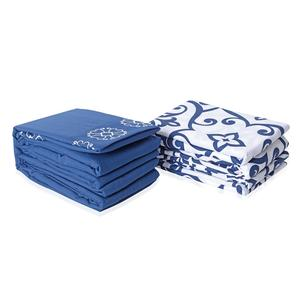 Blue and White 100% Polyester Damask & Flower Embroidered Pattern 8 Pieces Sheet Set (Full)