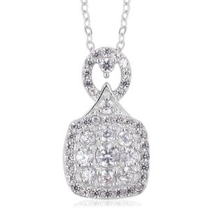 Natural White Zircon Sterling Silver Pendant With Chain (18 in) TGW 0.95 cts.