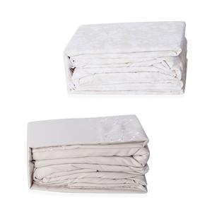 Cream and White 100% Polyester Damask & Embroidered Pattern 8 Pieces Sheet Set (Queen)