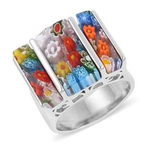 Murano Millefiori Glass Stainless Steel Ring (Size 8.0) TGW 5.00 cts.