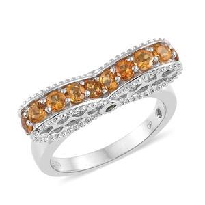 GP Serra Gaucha Citrine, Multi Gemstone Platinum Over Sterling Silver Ring (Size 7.0) TGW 1.35 cts.