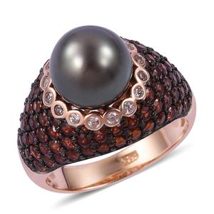 Tahitian Pearl (10-11 mm), Multi Gemstone Two-Tone Plating Sterling Silver Ring (Size 7.0) TGW 11.40 cts.
