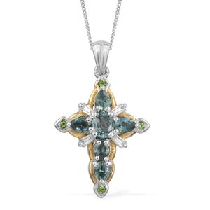 Montana Peacock Sapphire, Multi Gemstone 14K YG and Platinum Over Sterling Silver Cross Pendant With Chain (20 in) TGW 2.10 cts.