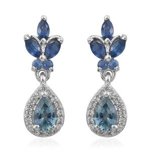 Montana Sapphire, Multi Gemstone Platinum Over Sterling Silver Earrings TGW 2.17 cts.