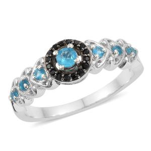 Malgache Neon Apatite, Thai Black Spinel Platinum Over Sterling Silver Ring (Size 7.0) TGW 0.60 cts.