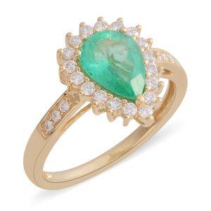 ILIANA 18K YG Boyaca Colombian Emerald, Diamond Ring (Size 8) TDiaWt 0.40 cts, TGW 1.65 cts.